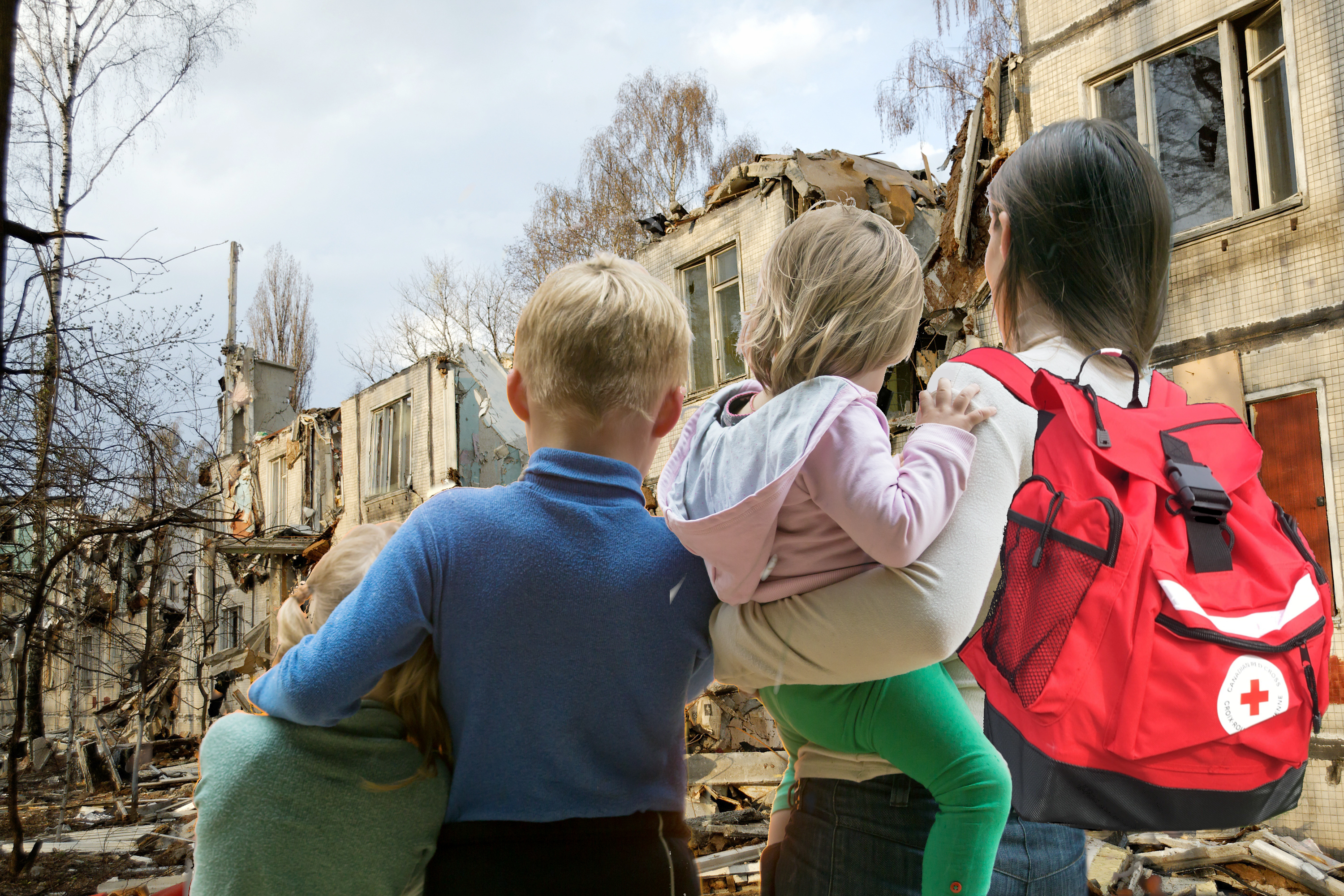Family with Disaster Backpack